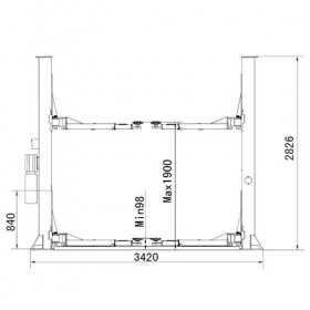Pont elevateur hydraulique 2 colonnes 3,2 tonnes 220V