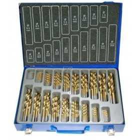 Coffret de 170 forets HSS TITANES avec boîte de transport métal, 15054