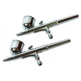 Ensemble 6 pistolets AIRBRUSH + accessoires métal chromé aiguille inox
