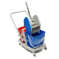Chariot de lavage 2 bacs avec presse - 60 L - 2 seaux de 30 litres